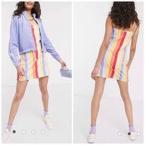 NEW Nike Rainbow Stripe Mini Bodycon Dress Sz S